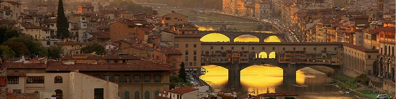 View of the Arno River and the Ponte Vecchio in Florence, Italy
